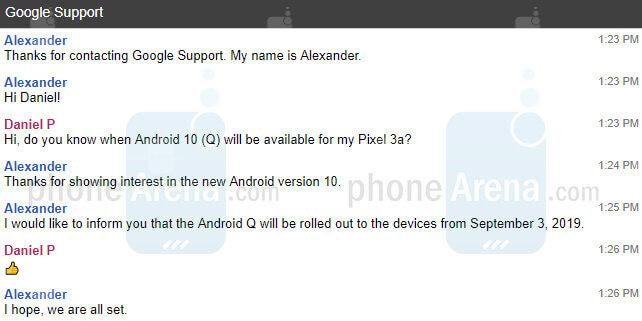Android 10 fecha de lanzamiento confirmada chat de Google